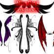 手绘妖精翅膀、恶魔翅膀、精灵翅膀、吸血鬼翅膀、蝙蝠翅膀PS笔刷素材#.3