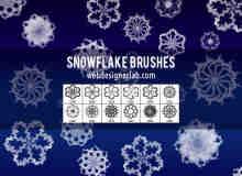 漂亮的12个雪花花纹图案photoshop笔刷素材