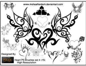 非主流式爱心花纹、爱情涂鸦photoshop笔刷素材