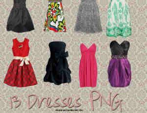 13种时尚女装连衣裙、晚礼服美图秀秀PNG素材包
