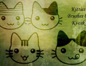 超级可爱的卡通猫咪图案photoshop笔刷素材下载