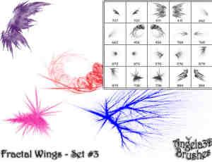 酷酷的光影分形翅膀photoshop笔刷素材#.1