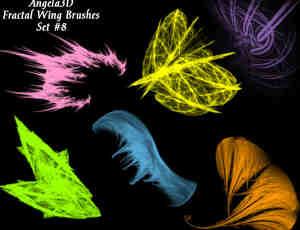 酷酷的光影分形翅膀photoshop笔刷素材#.8