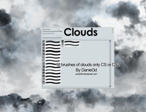 16种积雨云、乌云、下雨天空photoshop笔刷素材