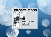 21种月球图形、真实的月亮PS笔刷素材免费下载