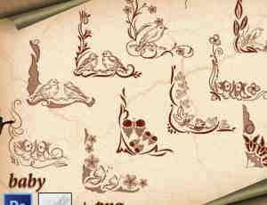 鸟语花香边角花纹图案photoshop笔刷素材下载