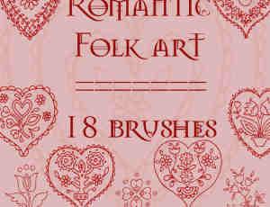 情人节爱心鲜花花纹图案Photoshop笔刷素材