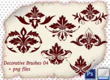 7种贵族式植物花纹图案印花photoshop笔刷素材
