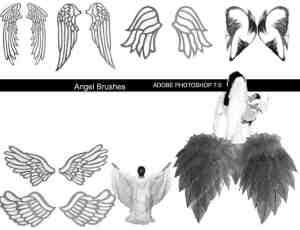 可爱镶边天使翅膀印迹PS笔刷素材下载