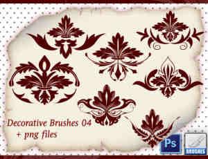 7种漂亮植物花纹贵族图案Photoshop笔刷素材下载