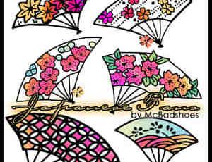 日本式卡通花纹扇子PhotoShop笔刷素材下载