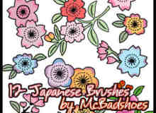 日本卡通花纹图案PS笔刷下载