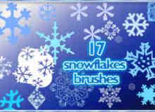 17种简单的雪花花纹图案photoshop笔刷素材