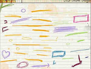 手绘铅笔、蜡笔、水彩笔线条涂鸦Photoshop笔刷素材下载