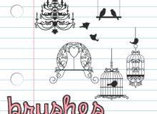小清新鸟笼、吊灯、窗台等花纹装饰PS笔刷