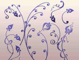 优雅的艺术花卉墙壁花纹装饰PS笔刷素材
