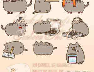 呆萌卡通猫咪PNG透明图片美图秀秀素材包 #.2