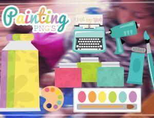 可爱卡通胶布、旗子、颜料、颜料盒、打字机、画笔等美图秀秀素材包下载