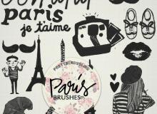我的巴黎生活卡通涂鸦PS素材下载