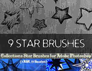 3个五角星、星星符号印记素材Photoshop笔刷打包下载