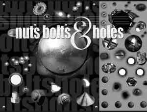 弹孔、螺丝、压力表、齿轮等工业元素Photoshop笔刷素材包下载