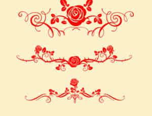 漂亮经典的植物玫瑰花纹图案Photoshop笔刷素材下载