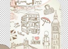 手绘卡通伦敦涂鸦艺术Photoshop填充图案文件底纹素材.pat