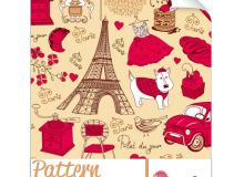 法国手绘涂鸦元素Photoshop填充图案文件底纹素材.pat下载