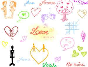 可爱情人节爱情涂鸦素材Photoshop笔刷下载