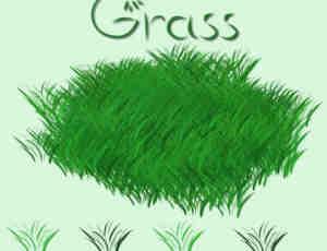 绿茵草坪、草地CG笔触画笔Photoshop素材