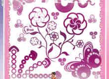 漂亮的花纹、蝴蝶装饰图案Photoshop笔刷素材