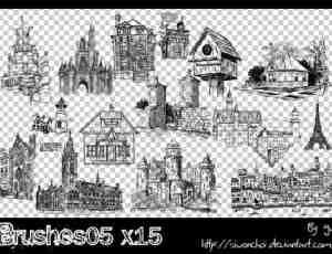 手绘卡通欧美建筑风格图形PS笔刷素材