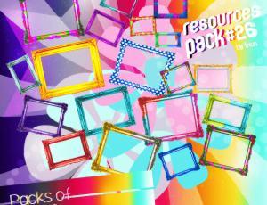各色七彩画框、相框、照片边框素材已扣图【美图秀秀笔刷包】