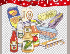 卡通生活用品鸡蛋、口香糖、醋、面粉、饮料等【美图秀秀素材】