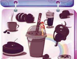 卡通咖啡、饮料、冰淇淋、巧克力等PS笔刷素材