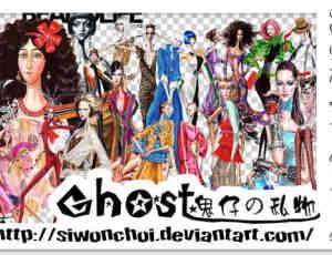 手绘都市女郎卡通造型PNG透明素材【美图秀秀笔刷包】