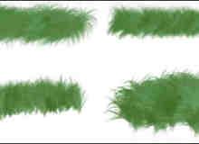 4种小草、草地、绒毛、毛发效果Photoshop笔刷素材