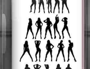 20种性感姿势的女人剪影Photoshop笔刷素材