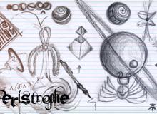 铅笔手绘神秘金字塔、天体图形Photoshop笔刷