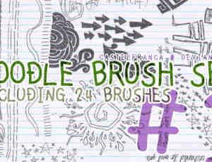铅笔手绘可爱涂鸦素材Photoshop笔刷