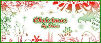 圣诞节铃铛、蜡烛灯图案Photoshop笔刷素材