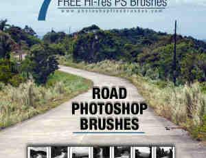 7种水泥路、小山村路、道路背景Photoshop笔刷素材