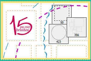 点画线、虚线正方形、圆形图案Photoshop笔刷