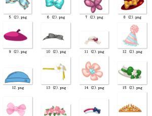 美图秀秀卡通蝴蝶结、礼帽帽子等可爱素材装饰