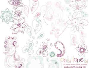 手绘线条花朵涂鸦Photoshop笔刷