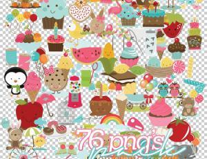 76个小清新卡通蛋糕、糖果、熊、棒棒糖等美图秀秀素材包