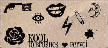 手枪、玫瑰、嘴唇、月亮、眼睛等图案PS笔刷