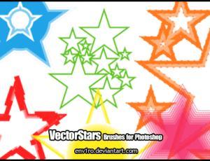 七彩矢量五角星素材Photoshop笔刷