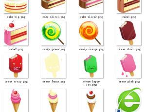 呆萌卡通蛋糕、冰棒图片素材【美图秀秀笔刷包】