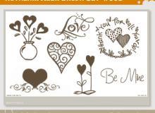 手绘爱心爱情图形Photoshop笔刷素材